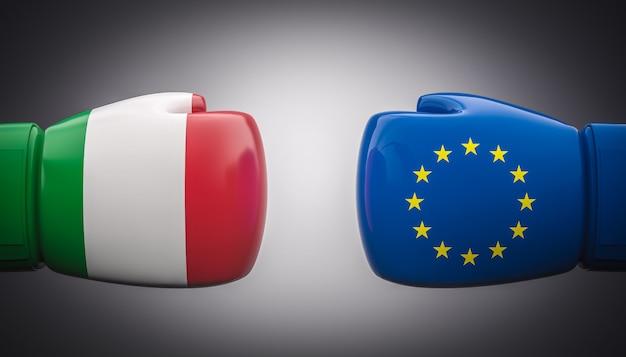 이탈리아와 유럽의 국기와 함께 권투 장갑.
