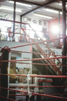 Boxing ring in fitness studio