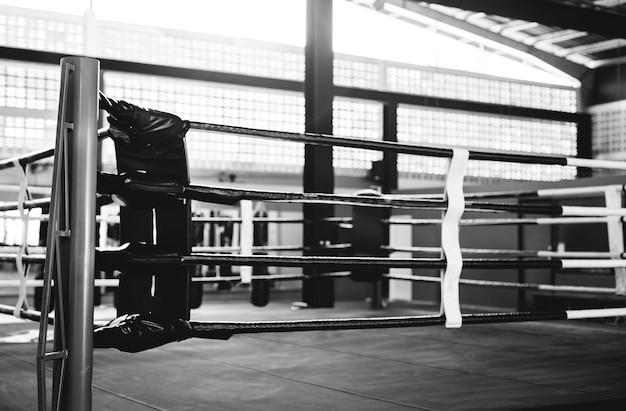 체육관에서 권투 링
