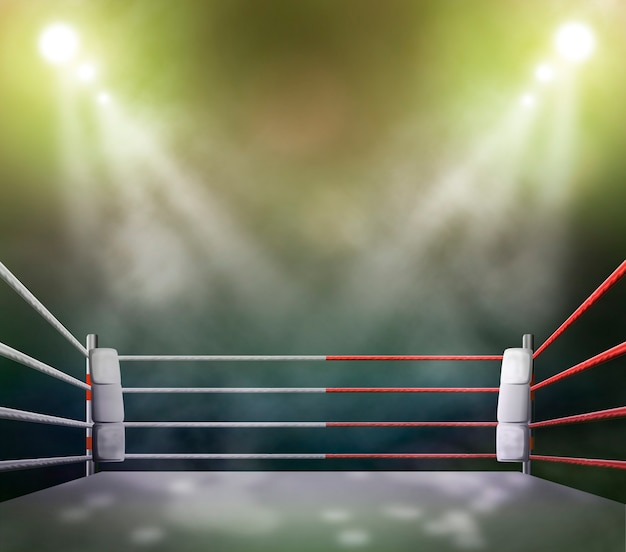 Boxing ring with illumination by spotlights.
