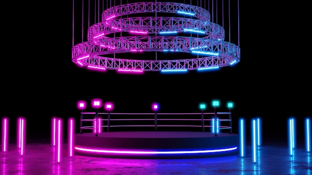 コンサートや製品の配置のための空白のプラットフォームとネオン照明の背景を持つボクシングのリング。 3dレンダリング。