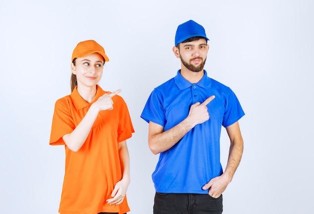 오른쪽을 보여주는 파란색과 노란색 유니폼 소년과 소녀.