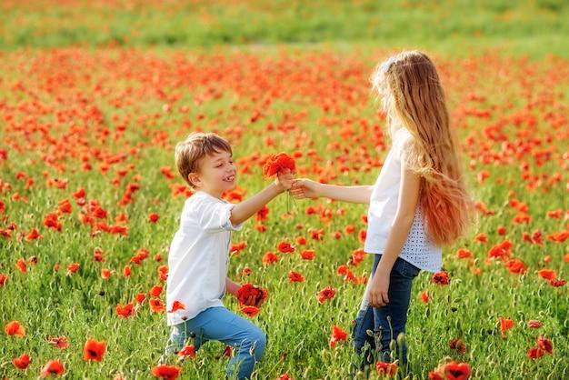 Мальчик и девочка в маковом поле