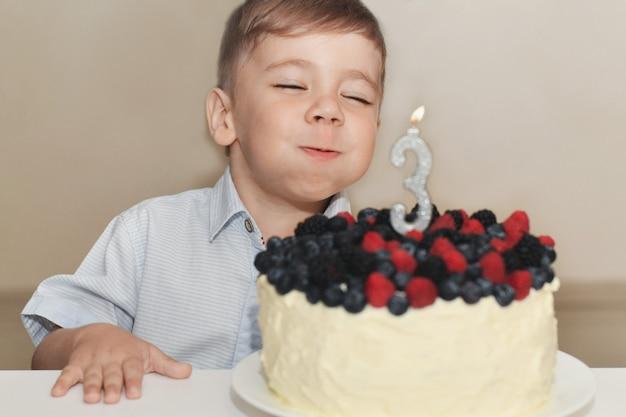 少年は彼の誕生日のためにろうそくを吹き消します