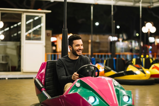 Boy on bumper car