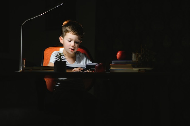 Boy doing homework at home in evening