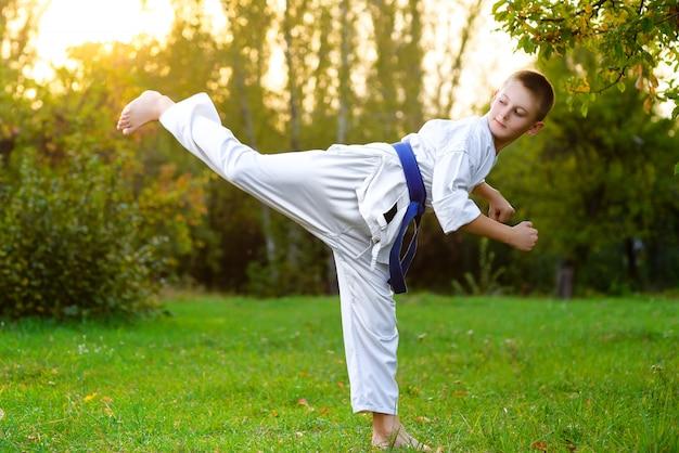 屋外で空手体操を行う着物姿の少年