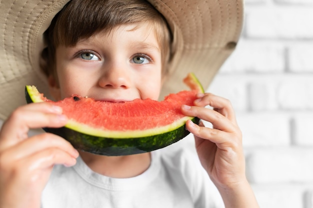 Boy enjoying watermelon