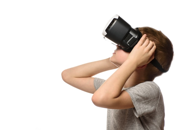Boy experiencing virtual reality.