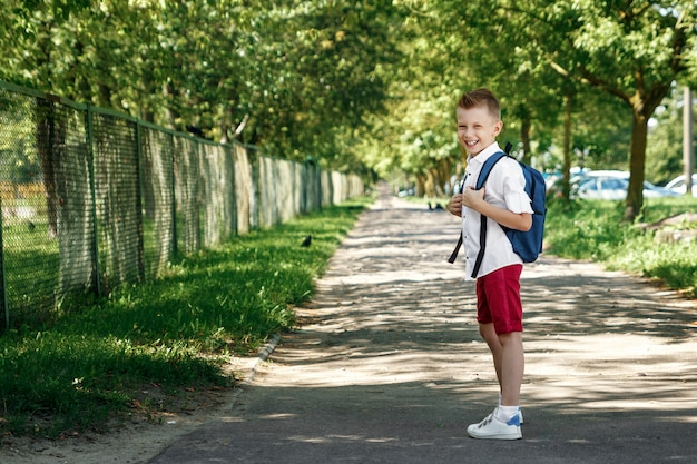 A boy from an elementary school with a backpack on the street