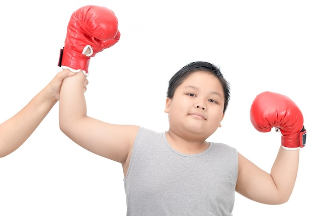 Boy gesturing for first place victory triumph isolated