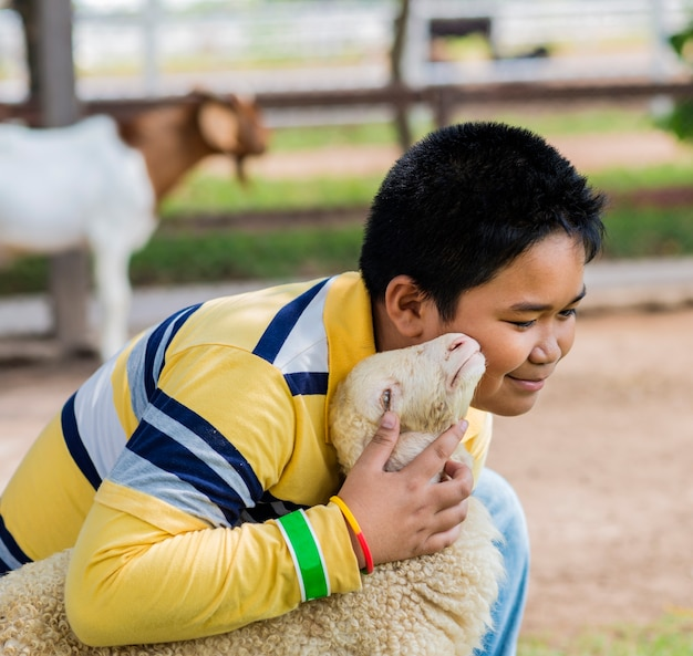 Boy hold and kiss his sheep in the farm.