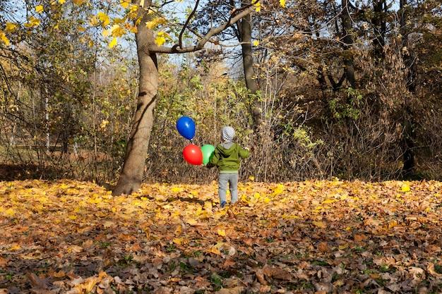 ヘリウムで3つの風船を持っている少年