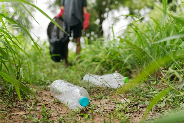 少年の手は森の中でペットボトルを拾います。自然保護と環境の概念。
