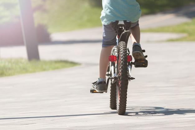 Мальчик на велосипеде летом в парке