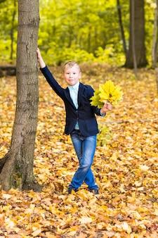 公園で紅葉で遊ぶ少年
