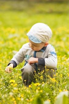 Мальчик играет с цветами на лугах