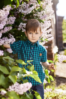 Boy poses in a lilac bush in the spring. romantic portrait of a child in flowers in the sun light