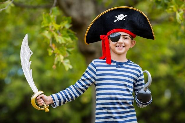 Boy pretending to be a pirate