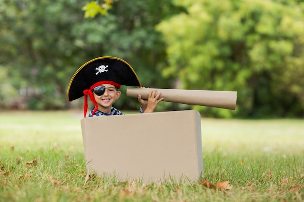 Boy pretending to be a pirate