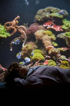 サンゴ礁のある水族館の近くで休んでいる少年