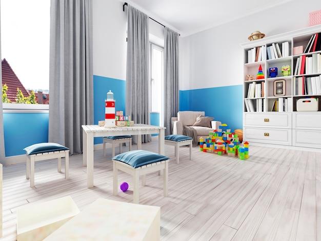 Интерьер спальни мальчика с белой стеной, как кровать, шкаф, плакат в рамке и игрушки. 3d рендеринг