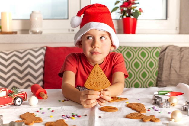 A boy in a santa claus hat is holding a ginger cookie in the form of a christmas tree cooking new ye...