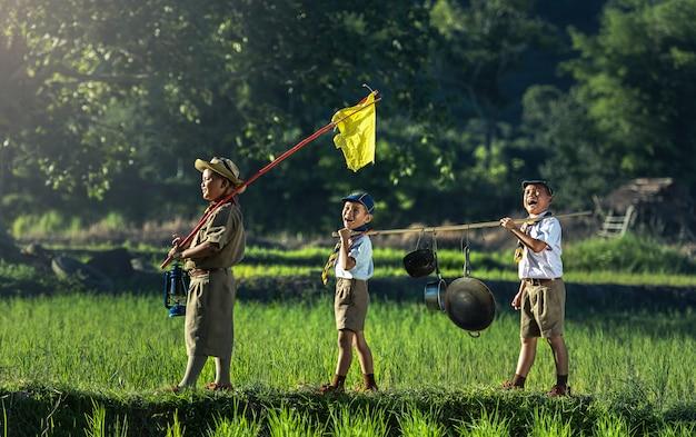 Boy scouts in a campsite