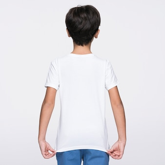 Boy showing the back of shirt