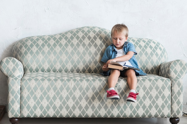 Boy sitting on sofa turning the pages of book