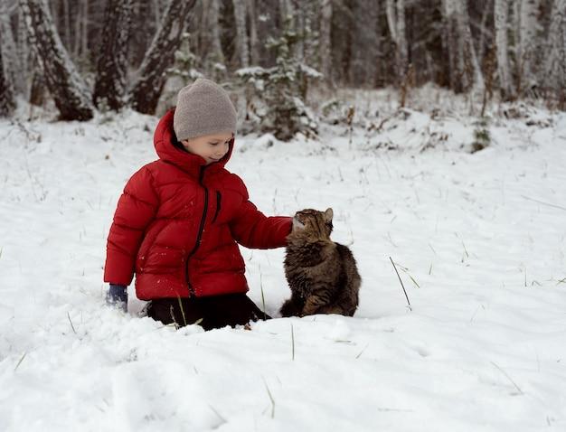 雪の中で猫をなでる少年
