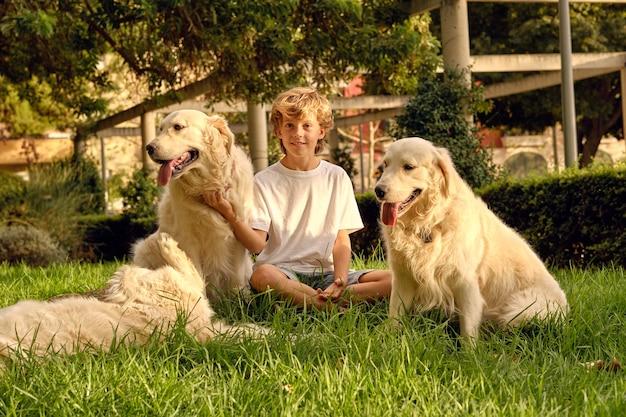 잔디밭에서 솜털 개를 쓰다듬어 소년