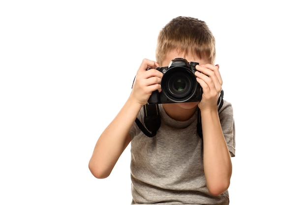 Boy takes pictures on the camera