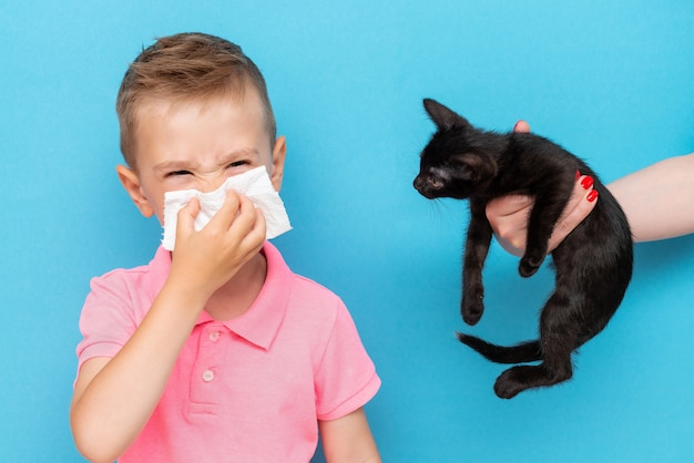 boy with allergies blowing nose into tissue and stands by the kitten