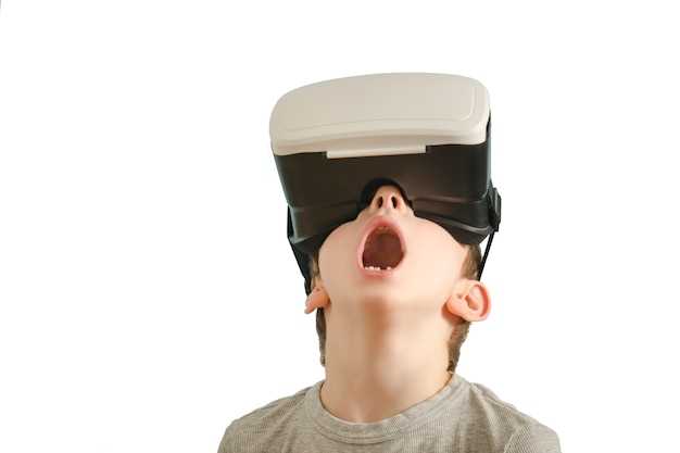 Boy with glasses of virtual reality.
