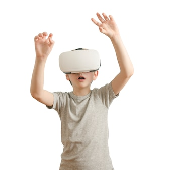Boy with glasses of virtual reality