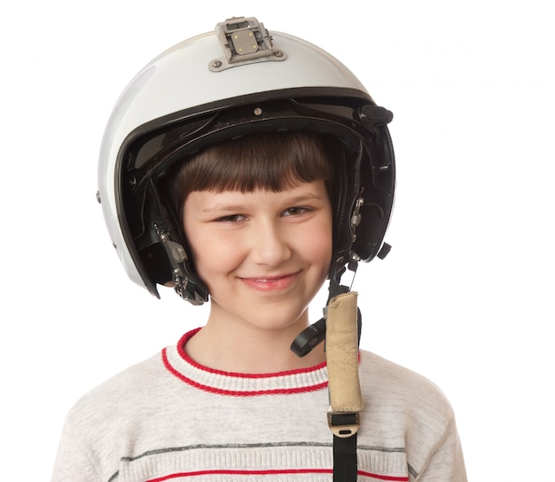 Boy with helmet isolated on white