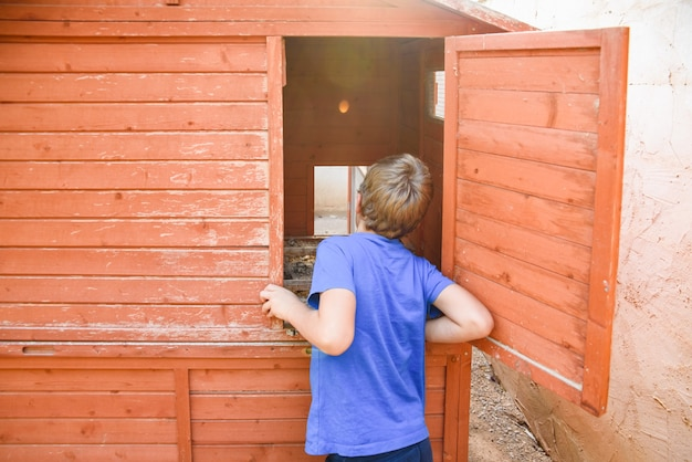 A boy, with his back turned, looks into a dirty chicken coop.