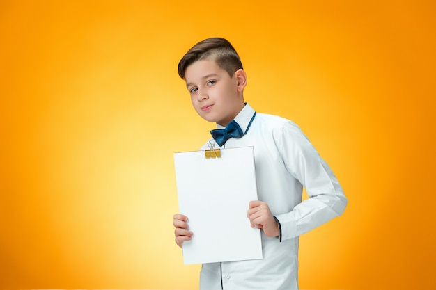 Boy with tablet for notes