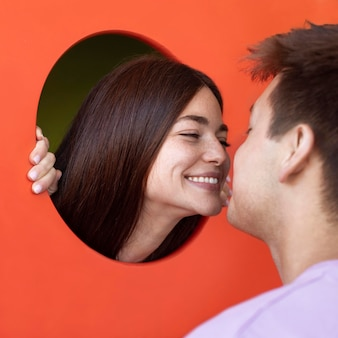 Boyfriend and girlfriend being affectionate