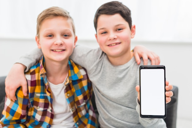Boys presenting smartphone template