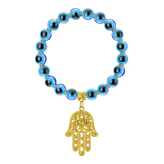 Bracelet with golden hamsa, hand of fatima amulet and evil eye beads on a white background. 3d rendering