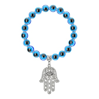 Bracelet with silver hamsa, hand of fatima amulet and evil eye beads on a white background. 3d rendering