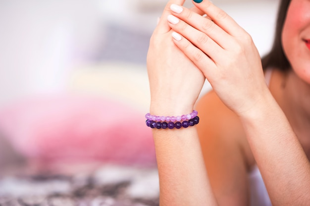 Bracelets made of natural stones.