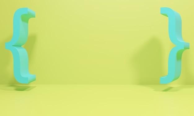 Кронштейн на желтом фоне на 3d иллюстрации. визуализировать