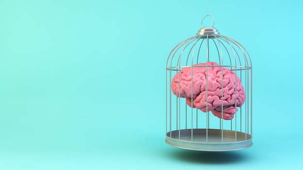 Brain on a cage concept 3d rendering