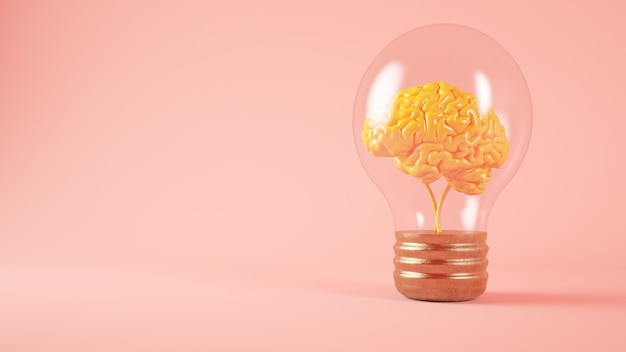 Мозг на концепции лампочки розовый фон 3d-рендеринга