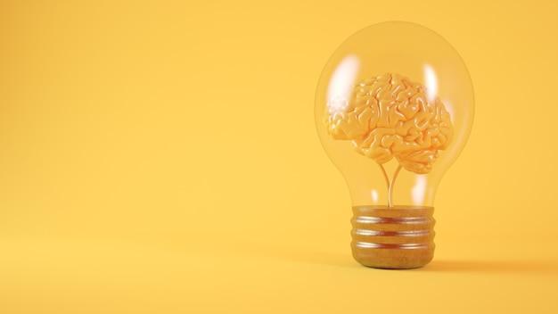 Мозг на желтом фоне лампочки 3d-рендеринга