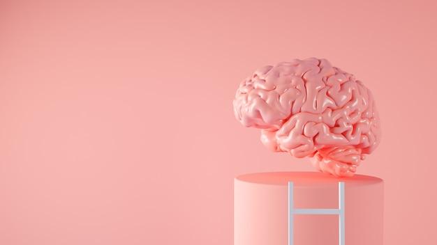 Мозг на платформе с концепцией лестницы 3d-рендеринга