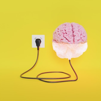 Brain plugged into power half charging with yellow background . 3d rendering